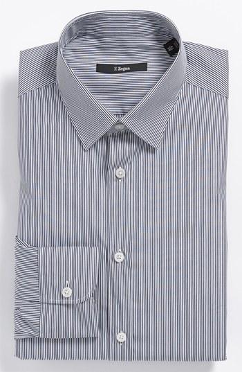 Z Zegna Slim Fit Stripe Dress Shirt