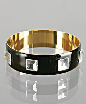 A.V. Max black studded enamel bangle