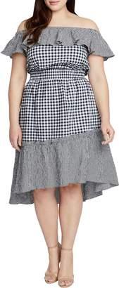 Rachel Roy Ava Gingham Off the Shoulder Dress