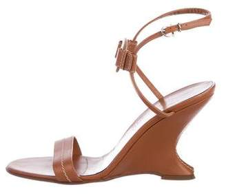 Salvatore Ferragamo Leather High-Heel Wedges