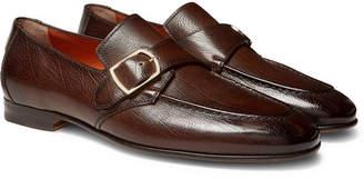 Santoni Pebble-Grain Leather Monk-Strap Loafers - Men - Dark brown