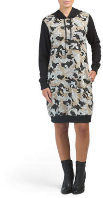 Made In Italy Hooded Camo Knit Dress