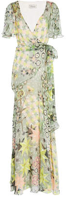 Temperley London Claudette Ruffled Printed Silk-Blend Chiffon Maxi Wrap Dress