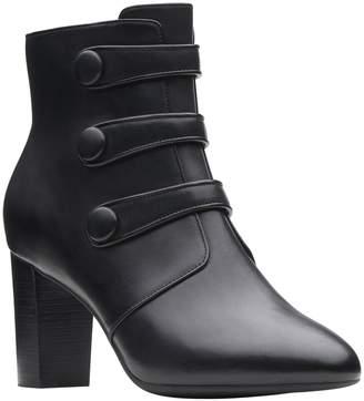 Clarks Artisan Leather Block Heel Booties -Chryssa Ella