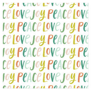 Brush Lettering Joy Peace Love Self-Launch Wrapping Paper