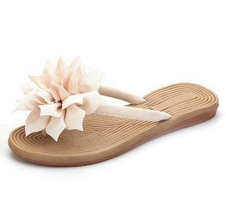 7a2f2d8203aed CYBLING Womens Flower Flip Flops Anti-Slip Thong Sandal Rubber Flat Summer  Beach Shoes