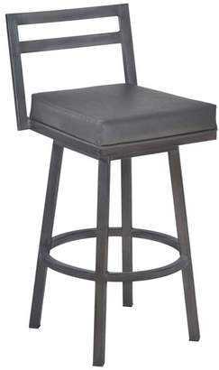 Armen Living Moniq Swivel Bar Stool, Vintage Gray Faux Leather and Mineral
