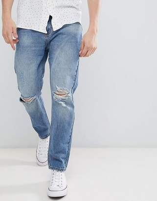 Rollas Stubs Rolled Jeans Orignal Stone Wash Busted Knees