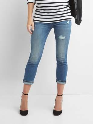Gap Maternity demi panel distressed best girlfriend jeans