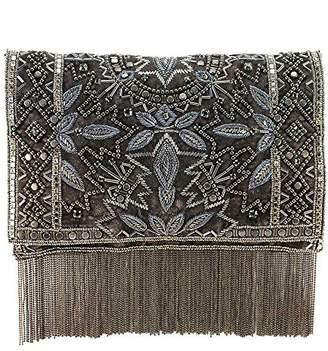 Mary Frances Roaring 20s Antique Pewter Embellished Velvet Crossbody Clutch Handbag
