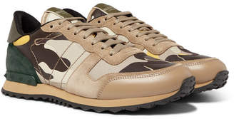 Valentino Garavani Rockrunner Camouflage-Print Canvas, Leather and Suede Sneakers - Men - Neutral