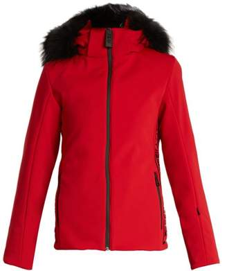 Fendi Logo Print Fur Trimmed Ski Jacket - Womens - Red