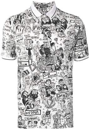 Dolce & Gabbana Cartoon print polo shirt