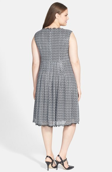 Adrianna Papell 'Deco' Crochet Knit Fit & Flare Dress