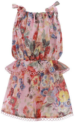 Zimmermann Kids Lovelorn Floral Tie Playsuit