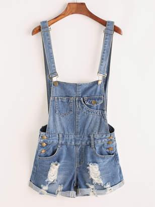 Shein Distressed Rolled Hem Overall Denim Shorts