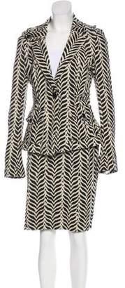 Diane von Furstenberg Striped Long Sleeve Skirt Set