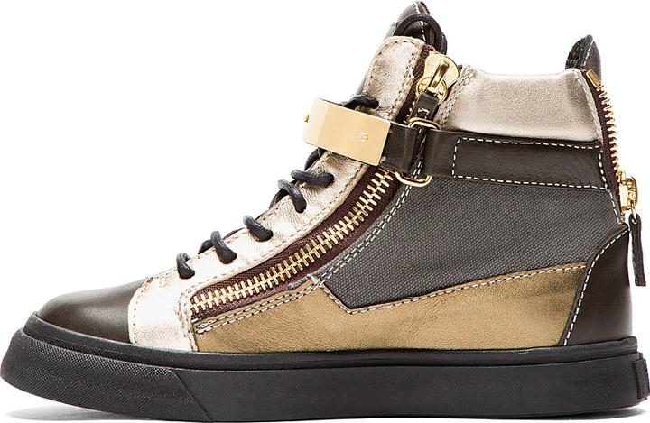Giuseppe Zanotti Khaki & Silver London Sneakers