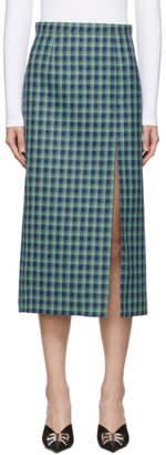 Balenciaga Blue Wool Check Skirt