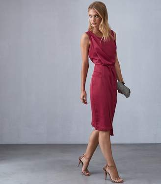 Reiss KARINA CROSS BACK COCKTAIL DRESS Raspberry