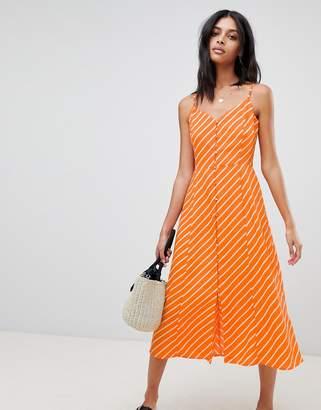 Warehouse Stripe Button Midi Dress