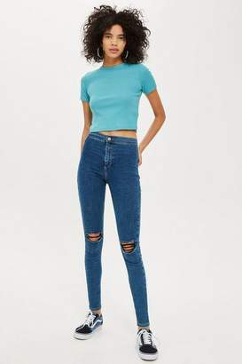 Topshop Womens Mid Blue Ripped Joni Jeans