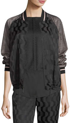 St. John Cotton-Blend Charmeuse Zip-Front Jacket