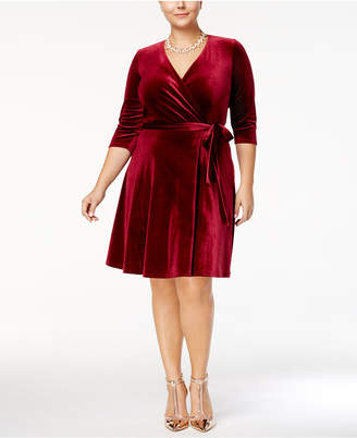 Love Squared Trendy Plus Size Velvet Faux-Wrap Dress