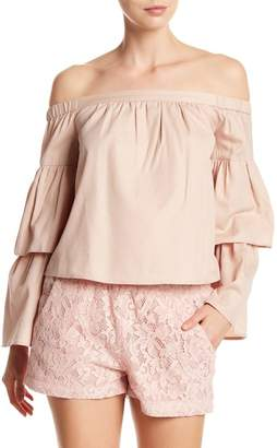 BCBGMAXAZRIA Layered Off-the-Shoulder Long Sleeve Top