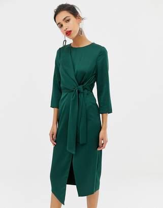 Warehouse satin tie midi dress in emerald
