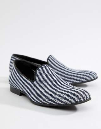 Asos Design DESIGN loafers in navy and white stripe