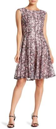 Gabby Skye Floral Print Lace Dress