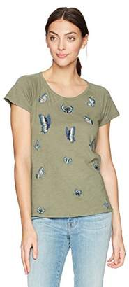 Lucky Brand Women's Embroidered Butterfly TEE