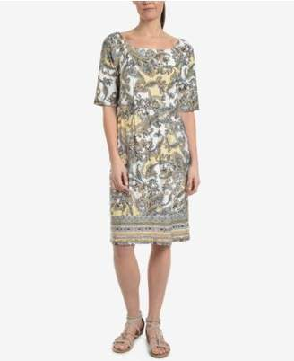 NY Collection Printed Elbow-Sleeve Shift Dress