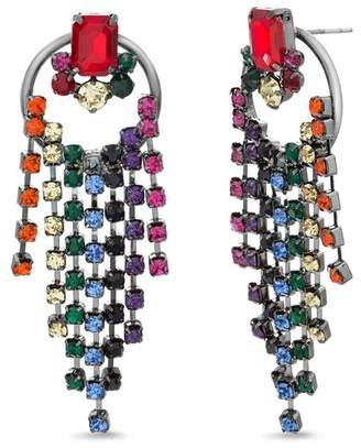 Steve Madden Rhinestone Fringe Drop Earrings