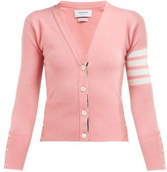 Thom Browne Stripe Sleeve Cashmere Cardigan - Womens - Pink