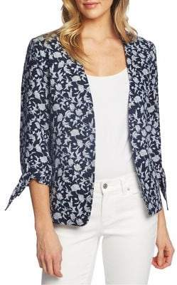 CeCe Meadow Monet Tie Three-Quarter Sleeve Blazer