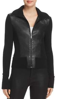 Elie Tahari Evita Leather Combo Jacket