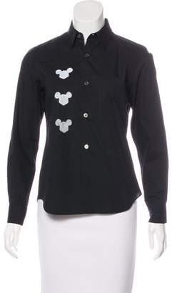 BLACK Comme des Garçons Mickey Mouse Button-Up Top