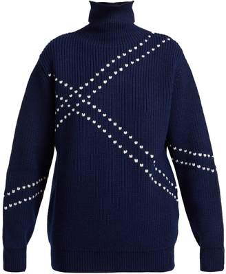Raf Simons Stitched high-neck wool sweater