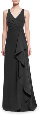 Armani Collezioni Techno Cady Side-Ruffle Gown, Black $1,795 thestylecure.com