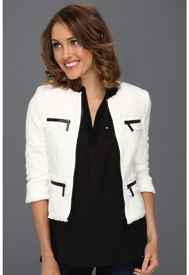 MICHAEL Michael Kors Petite Tweed Fray Zip Jacket (White) - Apparel