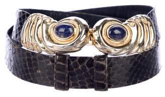 Judith Leiber Snakeskin Clasp Belt