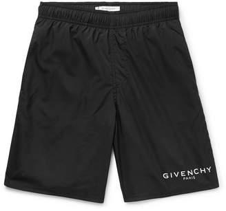 Givenchy Slim-Fit Long-Length Logo-Print Swim Shorts - Men - Black
