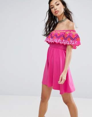ASOS Off Shoulder Sundress in Broderie $51 thestylecure.com