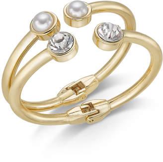 INC International Concepts I.N.C. Gold-Tone 2-Pc. Set Crystal & Imitation Pearl Bangle Bracelets, Created for Macy's