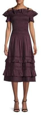 Rebecca Taylor Off-The-Shoulder Smocked Flare Dress