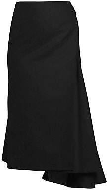 Dries Van Noten Women's Side Sash Asymmetric Wool-Blend Midi Skirt