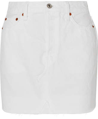 Denim Mini Skirt - White