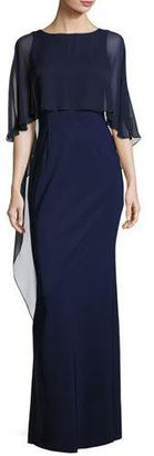 Rickie Freeman for Teri Jon Stretch Crepe Column Gown, Blue $760 thestylecure.com